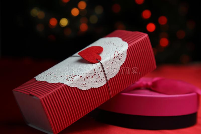 Christmas gift with illumination. Pictured christmas gift with illumination royalty free stock photos