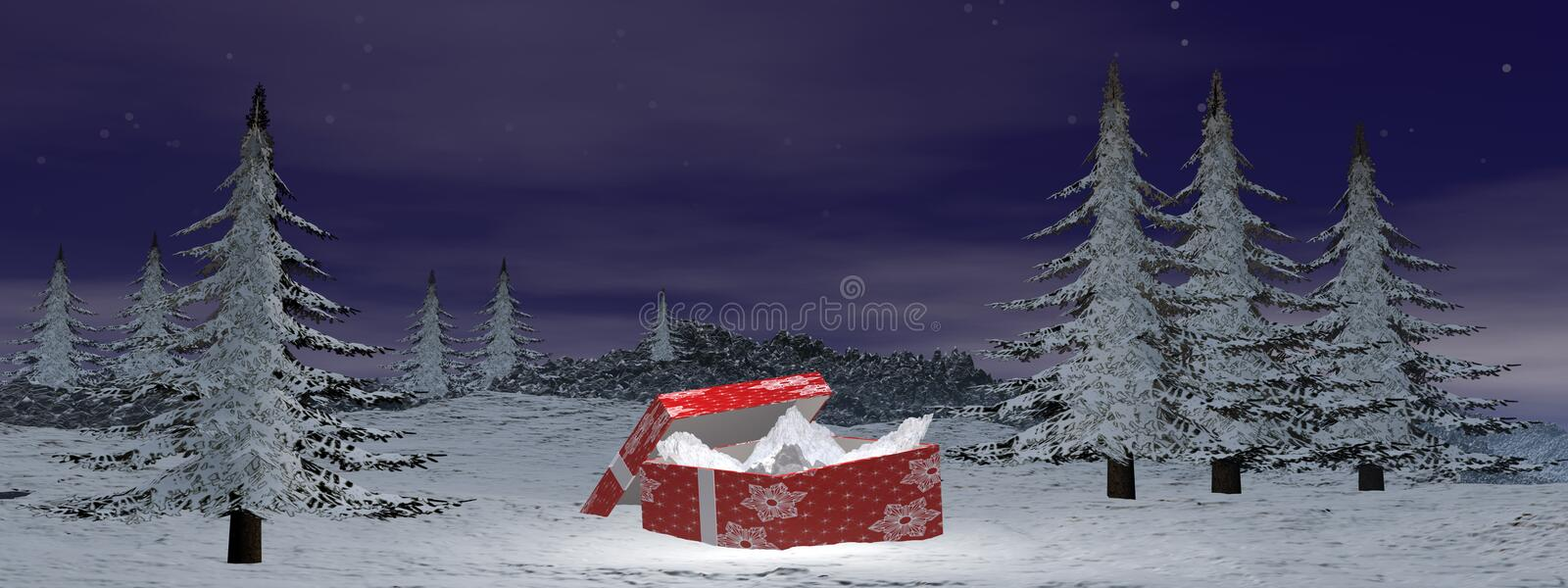 Christmas gift at the mountain - 3D render stock illustration