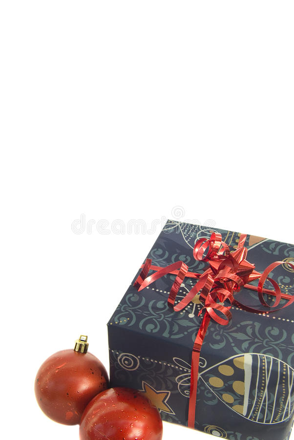 Christmas gift and red balls isolated royalty free stock images