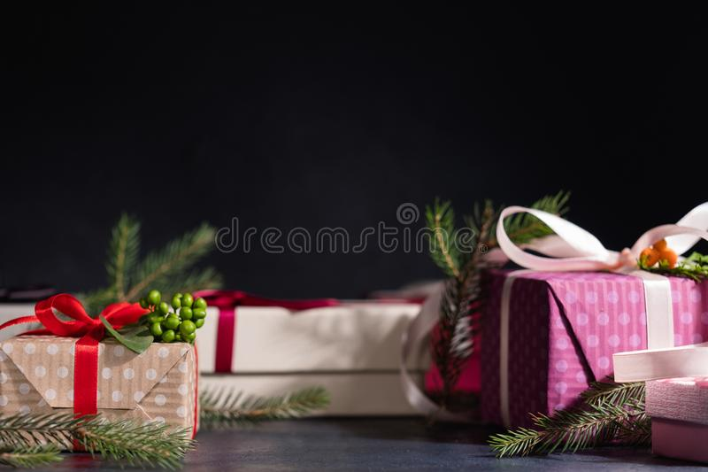 Christmas gift shopping present selection black royalty free stock images