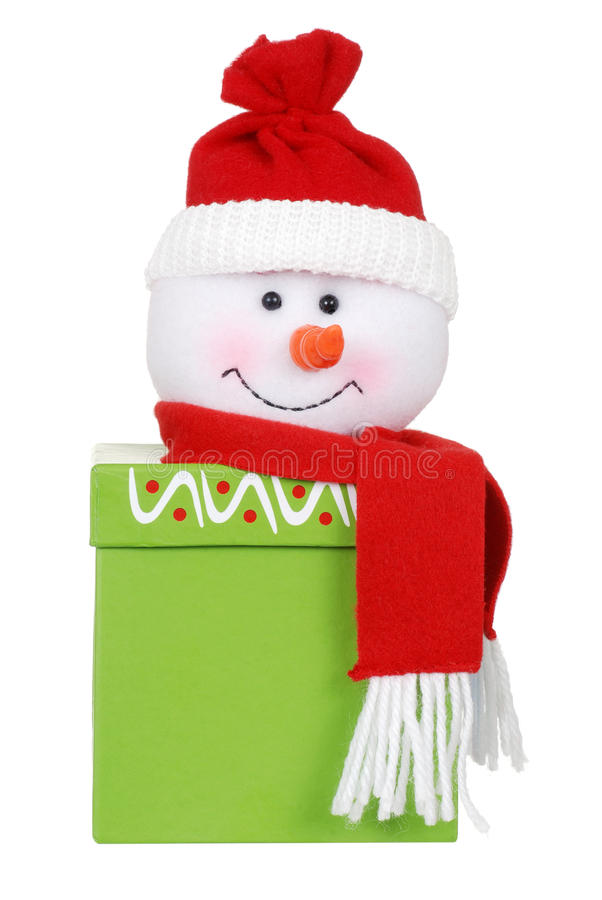 Christmas gift with snowman face royalty free stock image