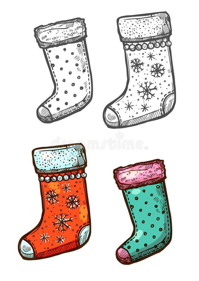 Christmas gift stockings isolated sketch icons set. Christmas stockings. Vector isolated sketch icons. Traditional new year symbol of hanging christmas stockings vector illustration