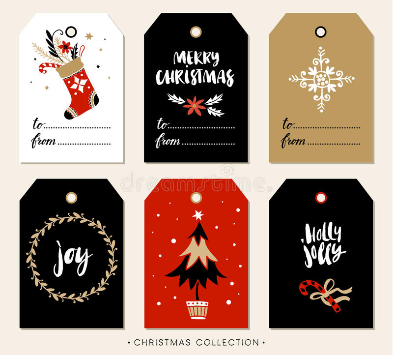 Christmas gift tag with calligraphy. Hand drawn design elements. vector illustration