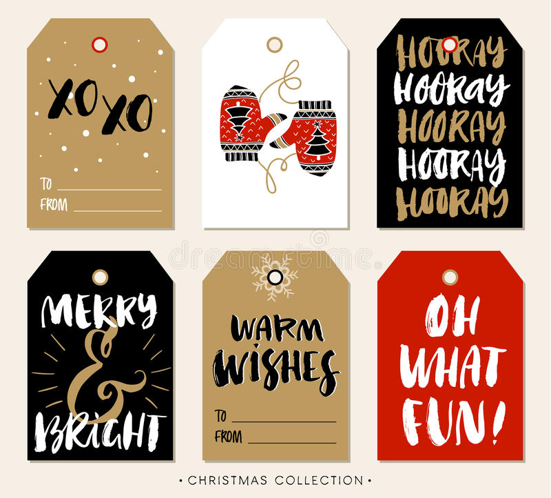 Christmas gift tag with calligraphy. Hand drawn design elements. stock illustration