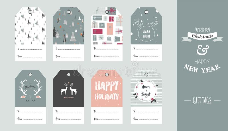 Christmas gift tag set in retro style . vector illustration stock illustration