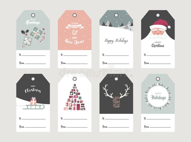 Christmas gift tag set in retro style . vector illustration vector illustration