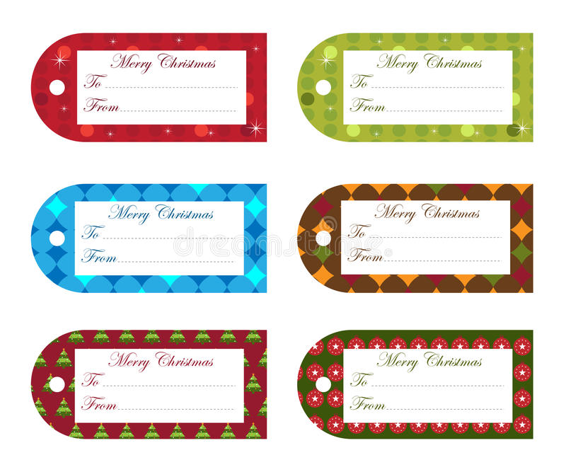Christmas gift tags. Set of six gift tags for Christmas with space for your text, isolated on white background. EPS file available
