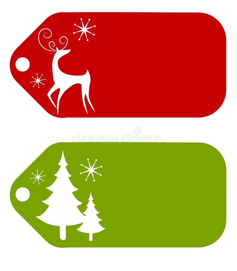 Christmas Gift Tags 2. An illustration featuring gift tags decorated with reindeer and Christmas tree silhouettes