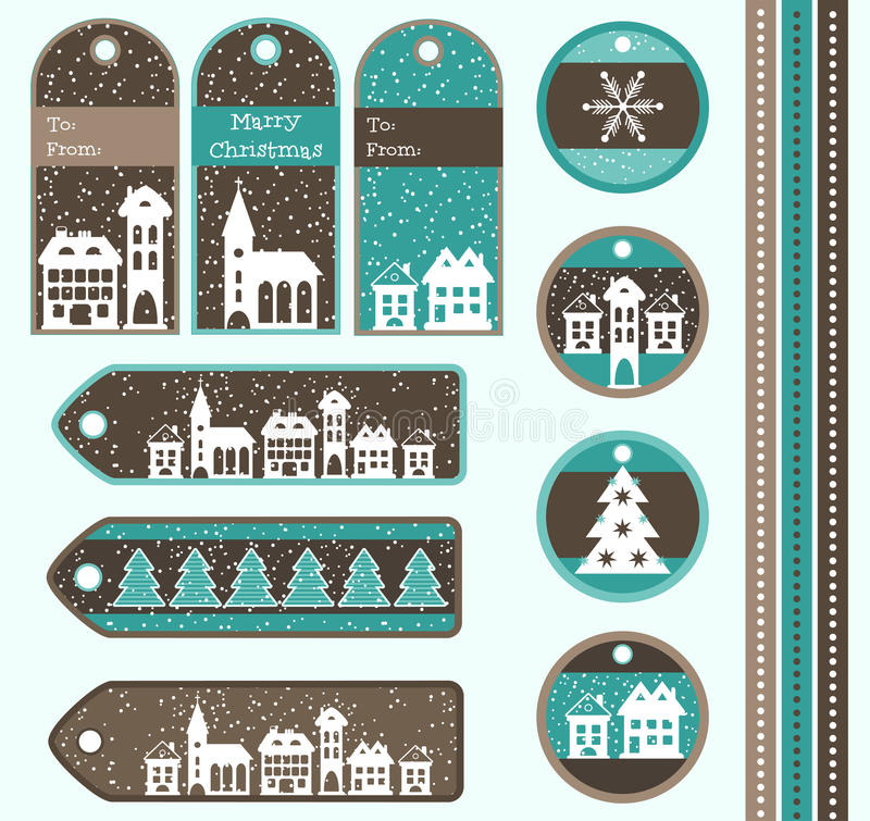 Christmas gift tags vector illustration
