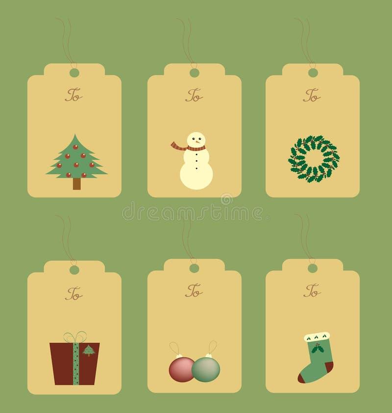 Christmas gift tags stock illustration