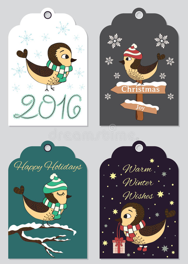4 Christmas gift tags with hand drawn birds. Set of printable holiday label, ready to use. stock photography