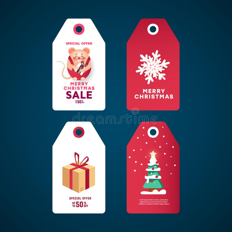 Christmas gift tags set. White stickers with gift box, spruce pine tree with star and decor with balls, snowflake and mouse. vector illustration