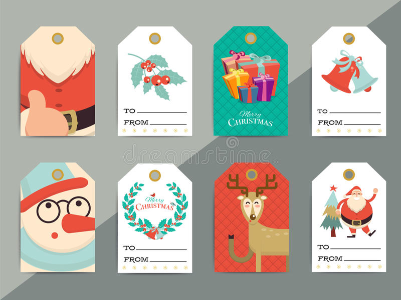 Christmas Gift Tags Template Set. Vector Printable Xmas Box Or L ...