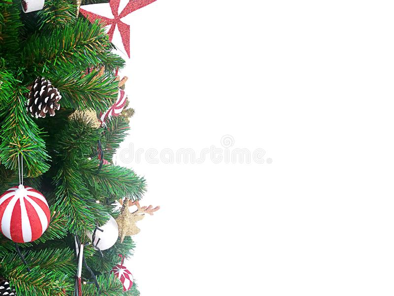 Christmas gift and tree on a white. royalty free stock photos