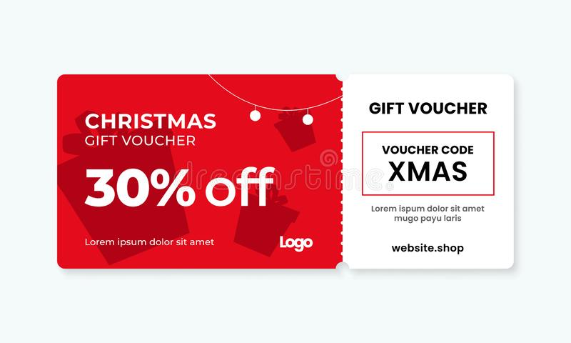 Christmas gift voucher card template vector illustration. 30% off sale coupon code promotion. Eps 10 stock illustration