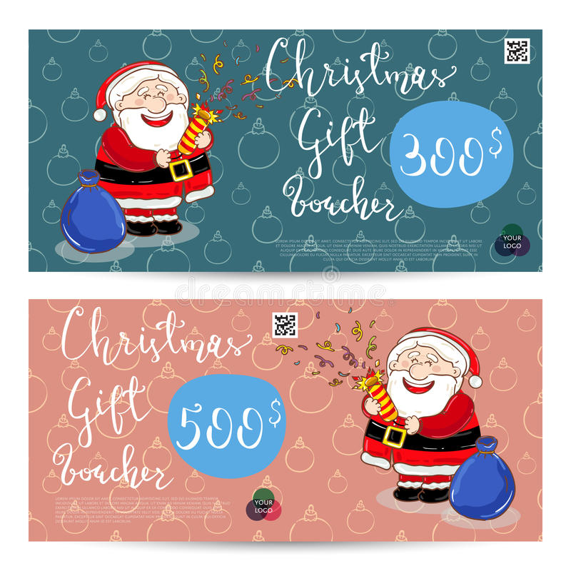 Christmas Gift Voucher With Prepaid Sum Template Stock Vector ...