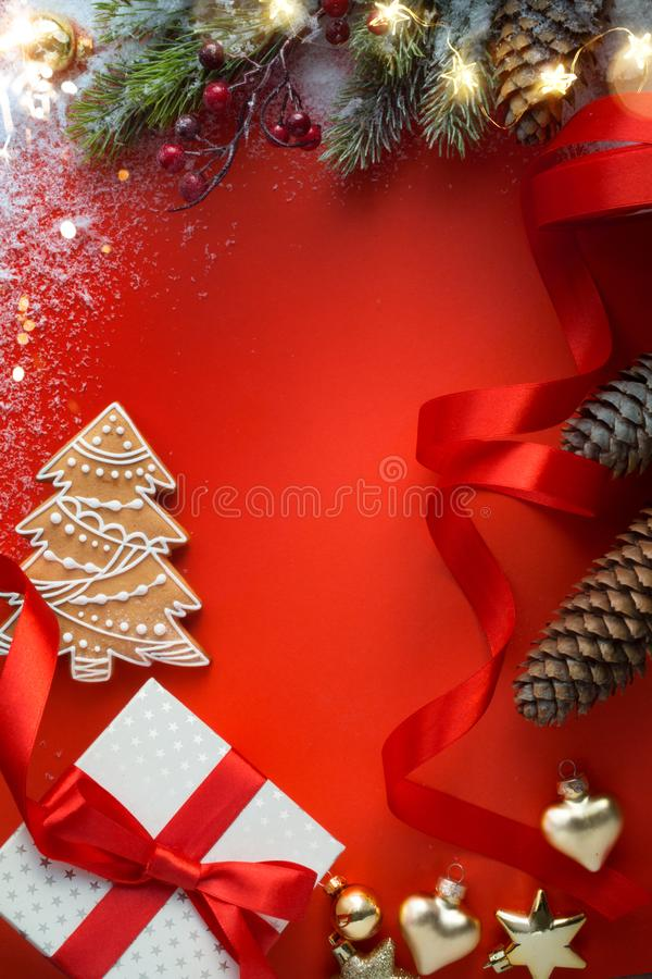 Free Christmas Gift With Ornament On Table ; Christmas Greeting Card Background Stock Photography - 131671412