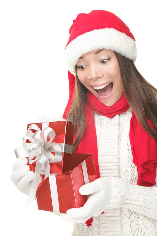 Download Christmas Gift Woman Opening Present Surprised Stock Photo - Image: 16123392