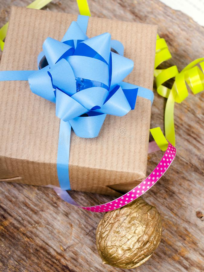 Christmas gift on wooden background royalty free stock photography