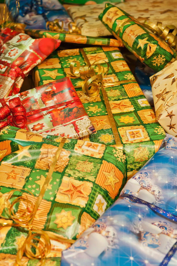 Download Christmas Gifts stock image. Image of bags, green, home - 24459023