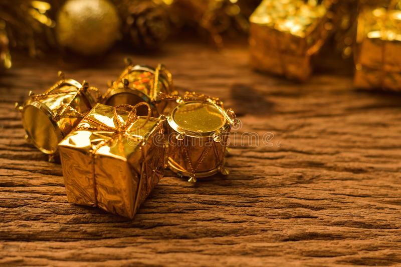 Christmas gifts box background with decorations on old wooden ta stock photo