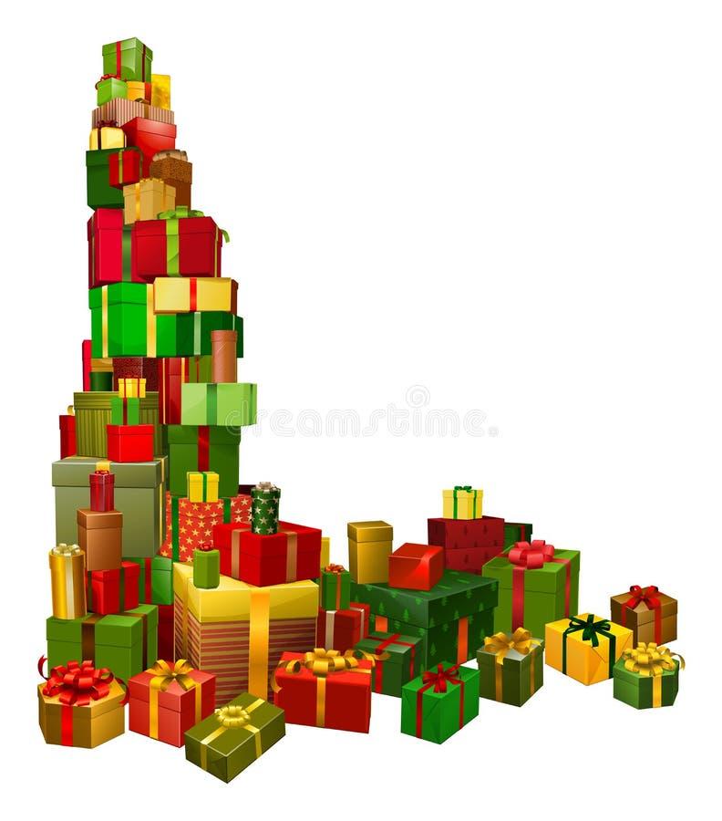 Christmas gifts corner design element. A corner shaped design element of lots of Christmas gifts