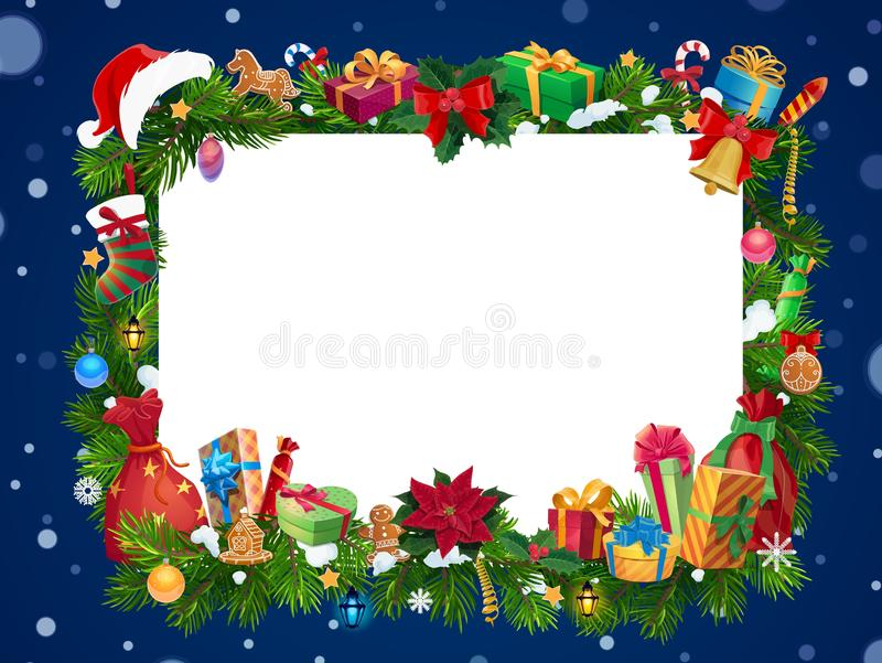 Christmas gifts garland with blank card in center royalty free illustration