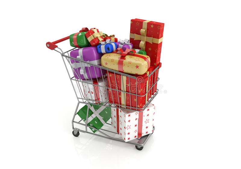 Christmas gifts. Isolated shopping cart with lots of gifts.3d image stock illustration