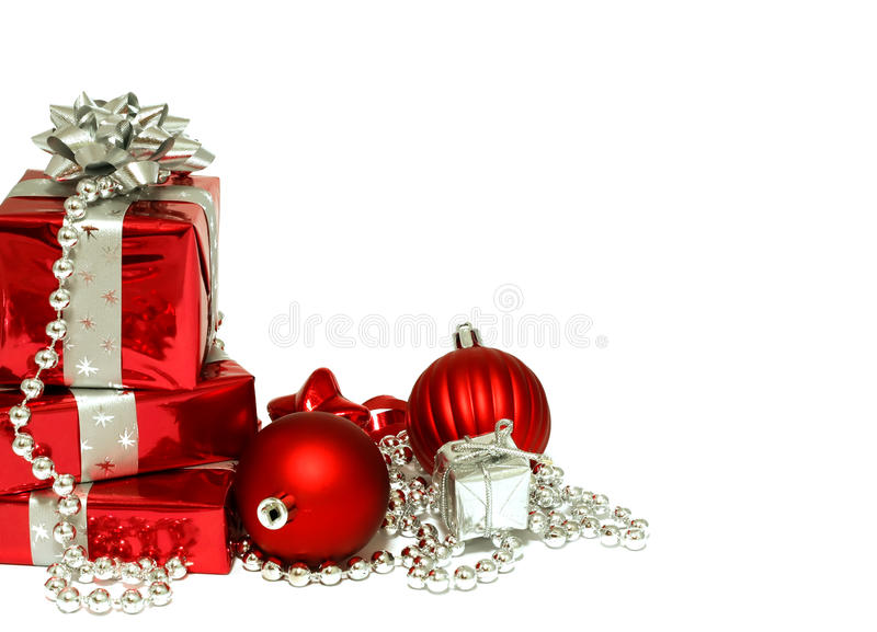 Christmas gifts isolated on white background stock photo