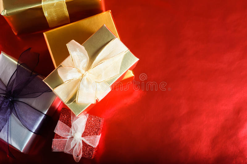 Christmas Gifts Overhead stock photography
