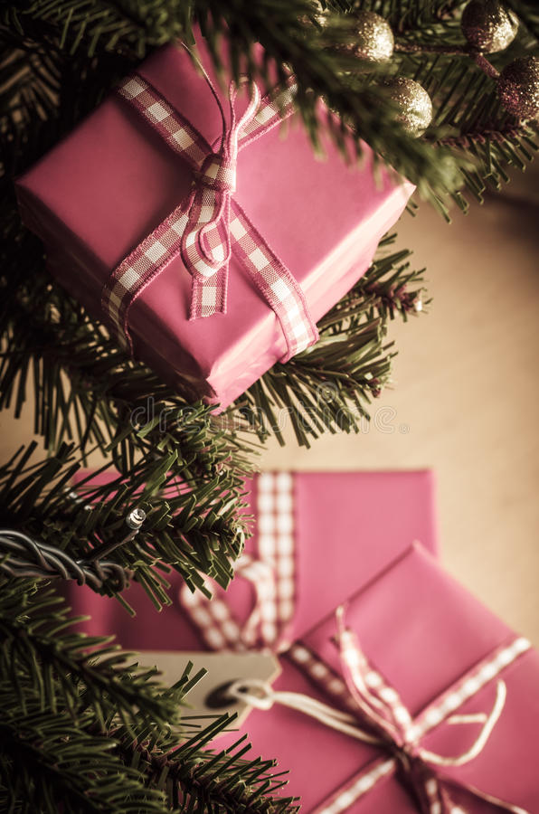 Christmas Gifts in Pink Wrapping stock photography