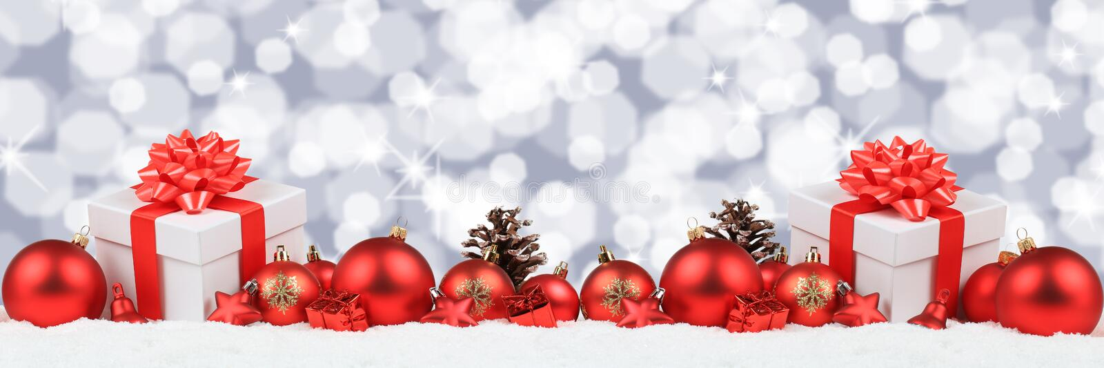 Christmas gifts presents balls banner decoration stars background copyspace royalty free stock images