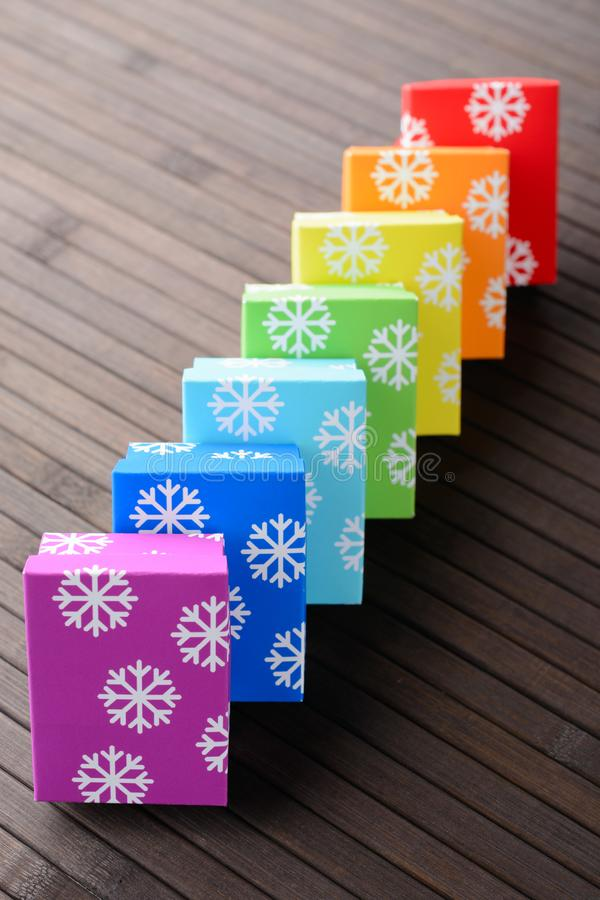 Christmas gifts in row stock images