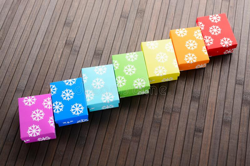 Christmas gifts in row royalty free stock photos
