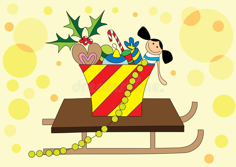Download Christmas gifts on sledge stock illustration. Illustration of christmas - 10988876