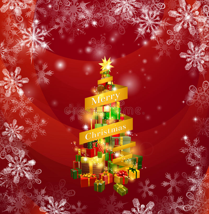 Christmas gifts snowflakes background royalty free illustration