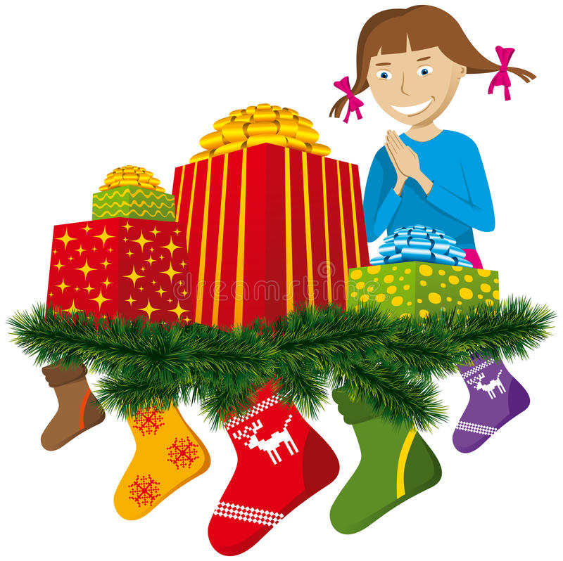 Download Christmas gifts with sock stock vector. Image of nobody - 16973969