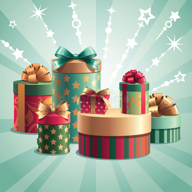 Free Christmas Gifts Template Royalty Free Stock Image - 27298656