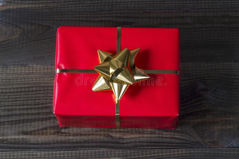 Christmas gifts on wooden background. royalty free stock image