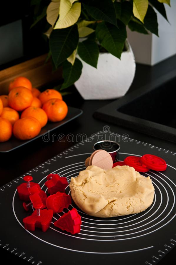 Christmas ginger cookies making still life stock photos