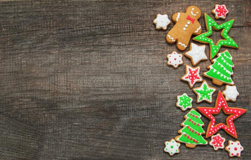 Christmas ginger and honey colorful cookies stock image