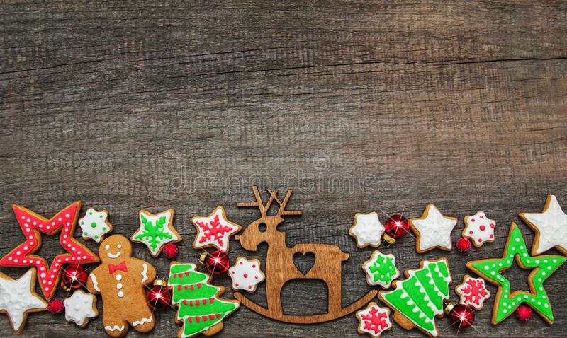 Christmas ginger and honey colorful cookies stock photo
