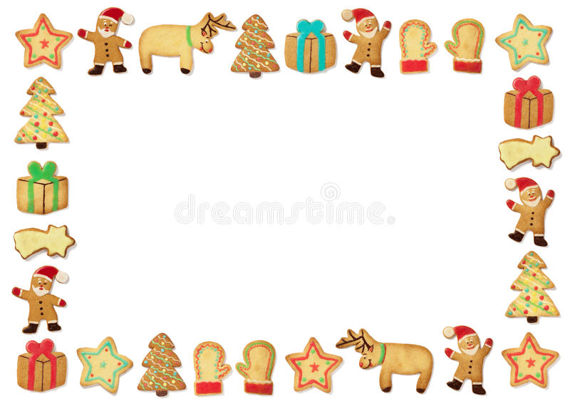 Christmas gingerbead cookies. On white background in picture frame stock illustration