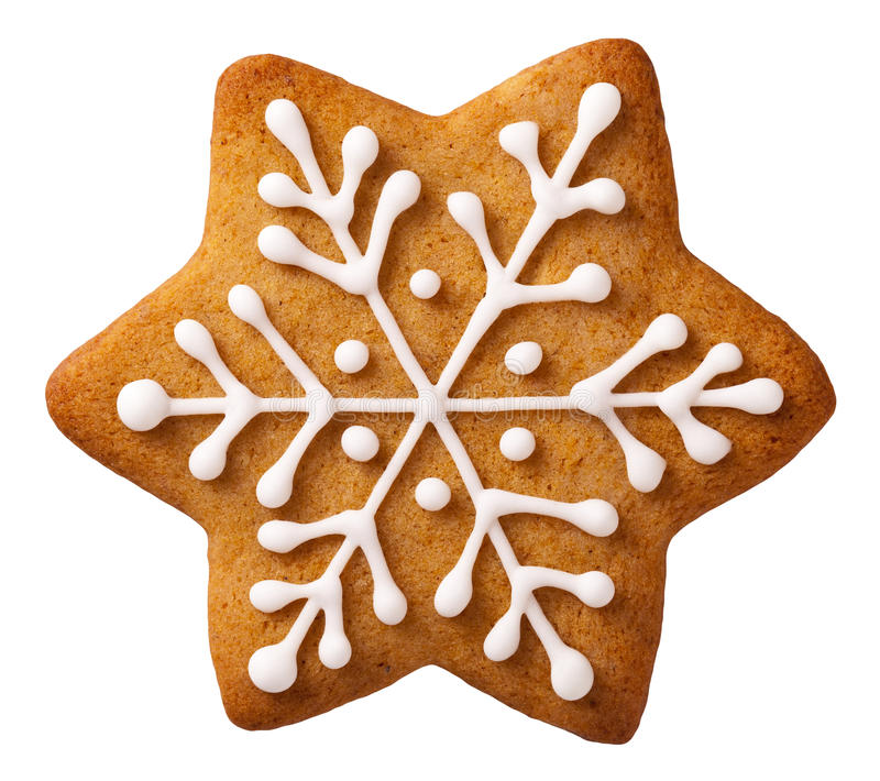 Christmas Gingerbread. Star shape christmas gingerbread isolated on white background stock photography
