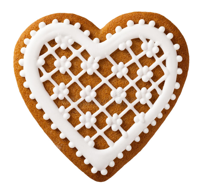 Christmas Gingerbread. Isolated on white background, heart shape stock photography