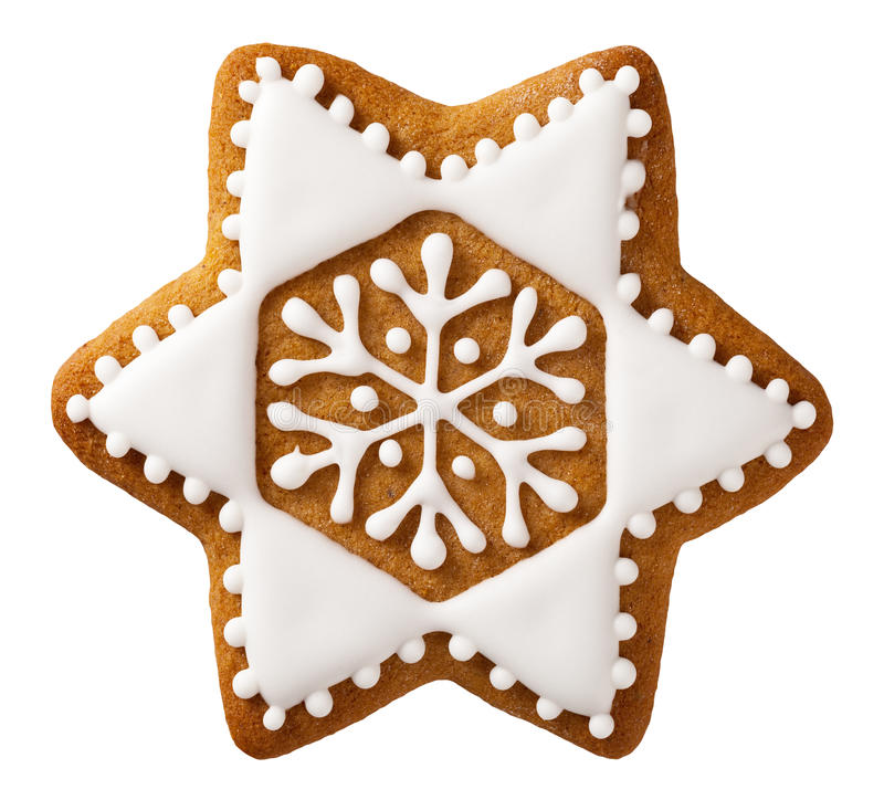 Christmas Gingerbread. Isolated on white background, star shape royalty free stock image