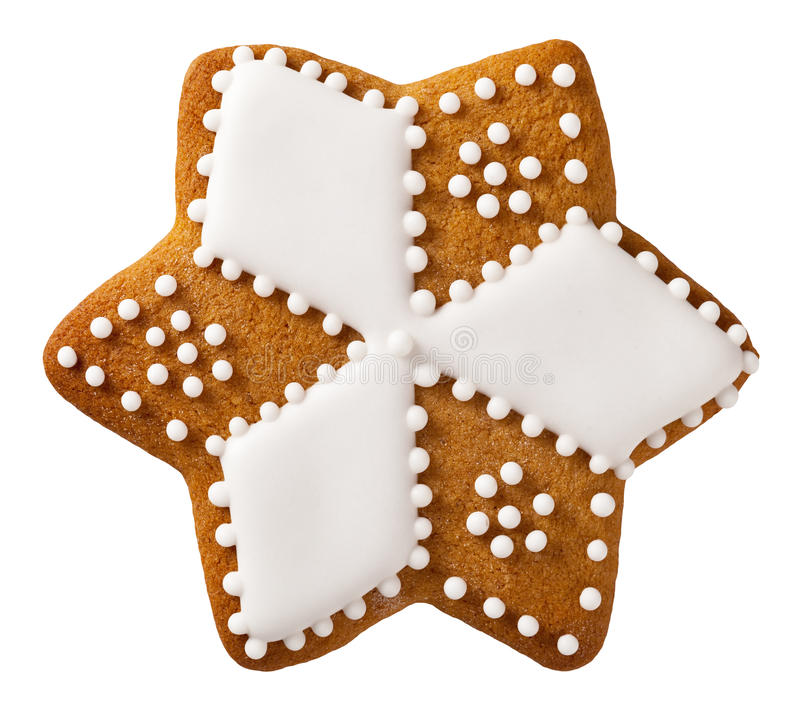 Christmas Gingerbread. Isolated on white background, star shape stock photos