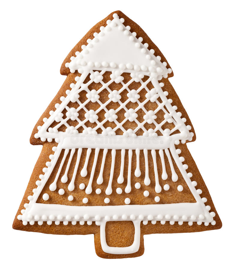 Christmas Gingerbread. Christmas tree gingerbread isolated on white background royalty free stock image