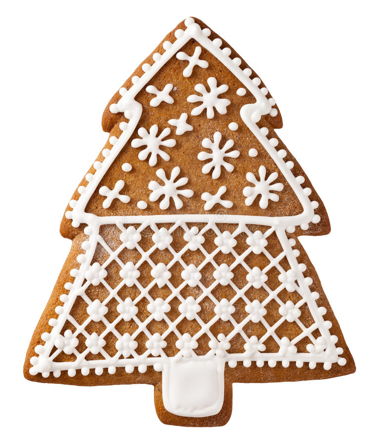 Christmas Gingerbread. Christmas tree gingerbread isolated on white background stock image