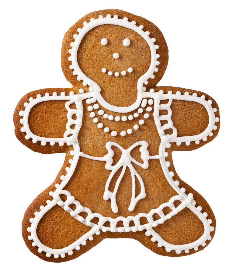 Christmas Gingerbread. Woman isolated on white background stock photo